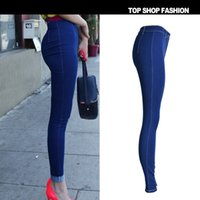 Wholesale High Waist Deep Blue High Stretch Women Jeans Euramerican Pop Candy Color Slim Street Kawaii Cute Style Push Up Pantalon Femme