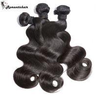 Wholesale Cheap Great Hair - Romantichair Brazilian Malaysian Peruvian Unprocessed Body Wave Human Hair Extensions Dyeable Great Quality Hair Weave Bundles 8A Cheap Hair