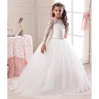 Wholesale 2016 New Arabic Flower Girls Dresses Princess Sleeveless Backless Lace Communion Party Kids Girl s Pageant Dresses flower girls cps291