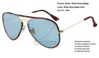 Brand new pilote JM style lunettes de soleil en métal 170 / R5 cadre en or bleu rouge camouflage emballage légende verre ventilateurs militaires gafas wholesale de sol