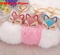 antique ruby ring gold - 16CM rabbit fur fox key chains Bling Rhinestone Fox Real Rabbit Fur Ball Fluffy Keychain Car Key Chain Ring Pendant Bag Charm