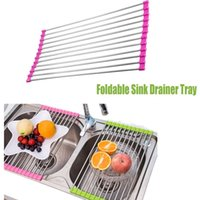 Wholesale 1PCS Green And Purple Stainless Steel Silicone Colander Foldable Sink Drainer Tray For Kitchen