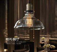 glass dining room - 2016 new design Dia cm American industrial loft vintage pendant light glass iron for dining room color E27 Edison bulb home lamp