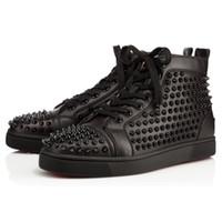 al por mayor cordones de los zapatos rojos negros-[Caja Original] Hombres Zapatos Zapatos rojos de fondo boda del partido de la zapatilla de deporte de lujo, cuero genuino Louisfalt Spikes del zapato con cordones de los zapatos ocasionales Negro Blanco