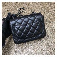 amber peach - 2016 Famous Brand Women Genuine Leather Handbag Original Classic CF Flap Bag Micro Bag Chain Plaid Bag Lambskin cm Color Amber