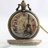 ancient roman necklaces - Ancient Eiffel Tower roman Pocket Watch bronze time gem stone necklaces locket Fob quartz Watches men women lovers fashion jewelry