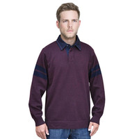 Wholesale FALL Mens Sweater Long Sleeve Rugby Shirt Collar Business Casual Wear Pullover Lapel Half Open Neck for Autumn Jersey Plus size XXL