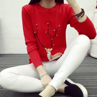 Wholesale Essential Spring New Fashion Womens Christmas Cute Reindeer Pearl Pullover Knit Sweater Warm Dec17