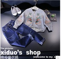 beating kids - Kids autumn new girls tide street beat tone stereo embroidery cardigan jacket shoulder fall Edition