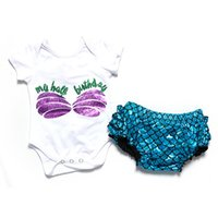 baby lifts - Adorable Baby Bloomer Set Shabby Mermaid Letter Baby Onesie set Blue Mermaid lift outfit set NB Birthday Baby Girls Clothes