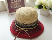 Wholesale Korean summer new female color raffia straw hat casual style sun hat shading beach outings wind Cloches Cap