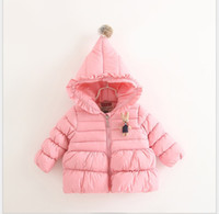 Wholesale new winter children outwear clothing European and American style girl down coat Lace Hat Little Rabbit hooded for years old