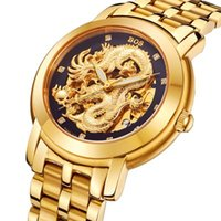 Wholesale Angela BOS Men s Dragon Collection Luxury Carved Dial Automatic Mechanical Bracelet Waterproof Gold Watch can OEM