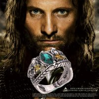 Wholesale TOP Quality Lord Of The Rings Jewelry Fashion Silver Of Aragorn Rings Vintage Jewelry For Men Size