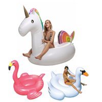 Wholesale Giant Inflatable flamingo Unicorn Swan Water Swimming Float Raft Air Mattress For Adult Kid Swim Ring Summer Holiday Inflatable Pool Toy