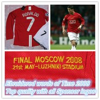 Wholesale Final Moscow champions league home red long sleeved jerseys season Ronaldo Retro jersey shirts