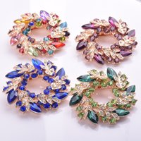 Wholesale 1 in Women Fashion Shinning Rhinestone Crystal Diamante Flower Wedding Cake Bridal Bouquet Brooch Pins Lady Ring Scarf Buckle Brooch Large