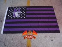 Wholesale Northwestern Wildcats with American national flag background flag Northwestern Wildcats CM polyster flagking brand banner