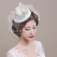 bibi fashion - Fashion Black Linen Bridal Hats Ivory Feathers Wedding Bride Hat Veil Bibi Plume Mariage BH10