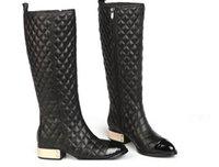 argyle boots - free hongkong post U149 GENUINE LEATHER ARGYLE METAL LOW HEEL BOOTS