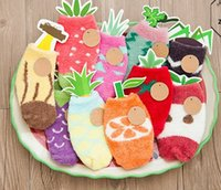 Wholesale Hot Baby socks with cards coral velvet fresh friuts watermelon antislip rubber sole house socks for Kids autumn Spring winter years