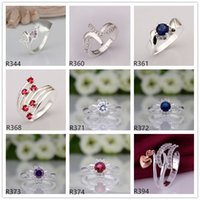 Wholesale women s gemstone sterling silver ring pieces a mixed style EMR54 hot sale high grade fashion silver ring