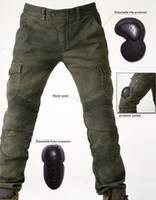 jeans xxxl - Men s motorcycle pants uglyBROS Motorpool stylish riding jeans racing Protective pants of locomotive Black Stain over Olive green