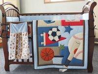 baseball bedding sets - 3D Printing embroidery Basketball football baseball pattern baby bedding set Quilt Bumper Mattress Cover crib bedding set
