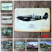 antique metal vehicles - Vintage Metal painting quot World War II combat aircraft and military vehicles quot wall painting art wall stickers crafts cafe bar decoration