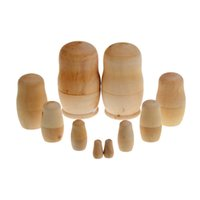 Wholesale x Unpainted DIY Blank Wooden Embryos Russian Nesting Dolls Matryoshka Toy K5BO