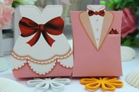 Wholesale 2016 the Bride and Groom Wedding Decorations Party Candy box DIY chocolate Wdding Favors Boxes Gift Paper Candy Bags