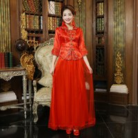 ancient chinese silk - New Cheongsam Red Kimono Clothing Show Chinese Style Restoring Ancient Ways Is Toast The Bride Gowns XiuHe Suit Costume B