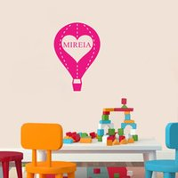 air plane designs - Personalised Any Name Hot Air Balloon Vinyl Wall Stickers Kids Room Decal