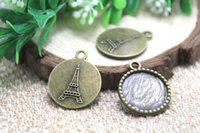 base tower - 15pcs Antique bronze Round Eiffel Tower Cameo Cabochon Base Settings charm pendants inner mm