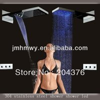 Wholesale led shower mixers rainfall waterfall both led light shower head wall mount shower rain