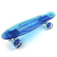 Wholesale 21 quot x quot Mini Fish Skateboard Complete Transparent Blue Longboarding Cool