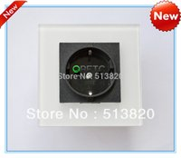 Wholesale EU Power Socket White Black High Quality Glass Panel Socket A EU Standard Wall Outlet without Plug