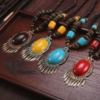 beeswax beads - Bohemian Wind Tibetan Pendants Necklace Handmade Imitate Beeswax Turquoise Tibetan Silver Amber Wooden Beads Sweater Chain With Small Bell