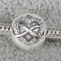 Wholesale Cross Heart Clip Charm With Cubic Zirconia Sterling Silver Stopped European Beads Fit Pandora Bracelets amp Necklace SP00131
