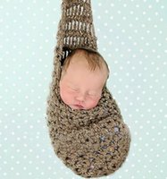 Wholesale Newborn Baby Crochet Hammock Cocoon Photography Photo Props Handmade Knit Children Costumes