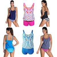Wholesale Sexy Women Swimwear Stripe Print Adjustable Strap Scoop Neck Bathing Suit Swimsuit Shorts Tankini Set GS113