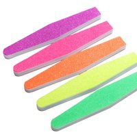 Wholesale 1PC Nail Buffer Women Salon Washable Double Side Diamond Sponge File Grinding Block Manicure Tools Fluorescent Color