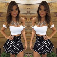 Wholesale 2016 Sexy Women Lace Bodycon Dress polka dot Skirt and Crop V Neck Tops Piece Party Clubwear