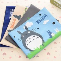 Wholesale Mix Colors Oxford Cloth Zipper Stationery Bags Cute Cartoon Totoro Pattern Envelope Students Book Bags cm cm
