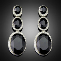 antique chandelier crystals - Costume Brincos for Women Vintage Design Antique Platinum Plating Black Alloy BlImitation Big Drop Earrings