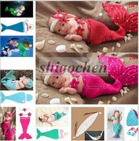 crochet hats wholesale - Baby Shower Crochet Mermaid Swaddles Knit Costume Wraps Newborn Blankets Baby Photography Props Diamond Headband set Outfit A1161