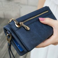 Wholesale Fashion Women Wallets Dull Polish Leather Wallet Double Zipper Day Clutch Purse Wristlet Coin Purse Card Holder Billetera