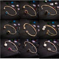bars tone - Cuff Bracelet Women Girls Simple Classic Styles Gold Tone Rhinestone Crystal Bangle Charm Jewelry Party Wedding Xmas Gift Mix