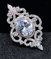 antique filigree brooch - Antique Silver Metal Filigree CZ Pins Brooches Jewelry Clear Oval Cubic Zirconia Stone Scroll Chandelier Vintage Women Broach