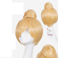 bell wig - Princess Tinker Bell Cosplay Wigs Short Blonde Curly Wig Cosplay Synthetic Hair Wigs Costume Party Perucas Hair wigs CM